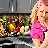 Küchenrückwand < Spices on Wood > Premium Hart-PVC 0,4 mm selbstklebend 120x60cm