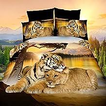 León y tigre 4piezas Juego de cama 3d animal prints funda de edredón juego de cama de tamaño Queen