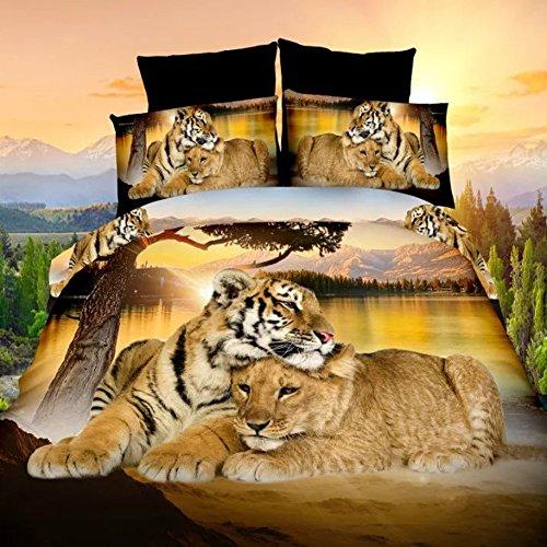 Juego de ropa de cama con diseño de tigres en 3D (4 piezas), cama doble