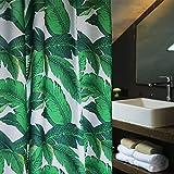 Aimjerry Grüne Tropische Palmen Lässt Stoff Duschvorhang Schimmelresistent, Wasserabweisend 180 x 200 cm
