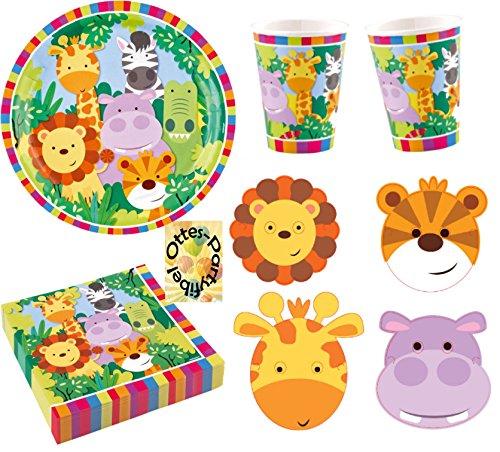 Partyset 44tlg. für 8 Kinder Teller Becher Servietten Masken ()
