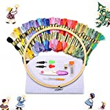 KING DO WAY 50 Stück embroidery tool set, 40 Stickgarn Multifarbe 1 Stickgarn 1 Stoff Stickgarn Zubehör Kreuzstich Stricken