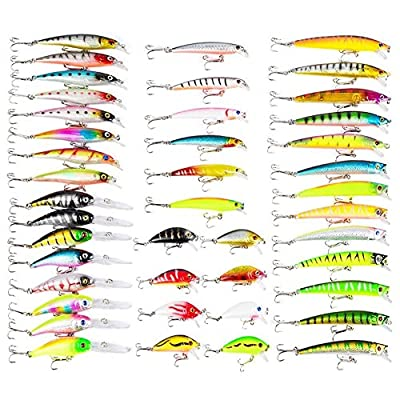 Mounchain Fishing Lures Set, suitable for Sea, River, Lake, for trout, pike, perch, carp, and zander, 43 pcs by Mounchain