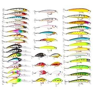 LinTimes Kit Leurres de pêche, convient pour l'eau Mer, l'eau douce et pour la perche de Truite, la Carpe, le Brochet et le Sandre, 43 Pièces
