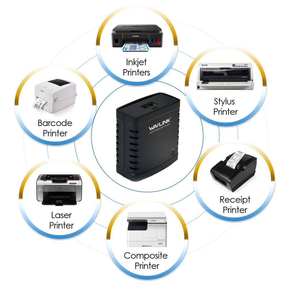 Red servidor de impresi/ón USB 2.0/Ethernet Print Server Adapter LPR 1/puerto MFT Impresi/ón con 10//100/Mbps LAN Ethernet Compartir un puerto est/ándar USB Impresora con varios usuarios Wavlink/
