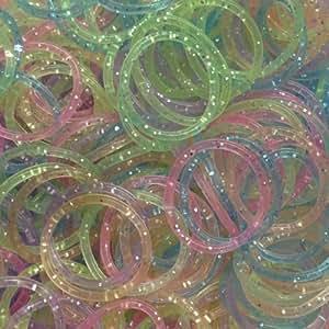 Cheri-600 Loom Bandz Elastiques Rainbow Colours - Colourful S-attaches 75 Clips
