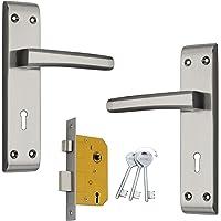Shrida Udyog Bold Steel Mortise Lock Set with 3 Keys in Black Silver Finish