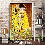 Quadro su Tela Artista Classico Gustav Klimt Bacio Pittura a Olio Astratta su Tela Stampa Poster Arte Moderna Immagini a Parete per Soggiorno Senza Cornice,40x60cm