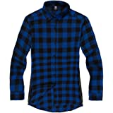CHENMA Men Button Down Longline Hipster Hip Hop Plaid Flannel Shirt with Side Zip