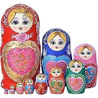 YAKELUS marca profesional de Matrioska, Muñecas Rusas Matrioska 10 piece Madera Matrioska de Rusia de