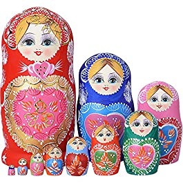 YAKELUS Marchio di Matrioska specializzato, nesting dolls Matrioske Bambola Matrioska russa in 10 pezzi, tiglio di zona frigida, regalo e giocattolo