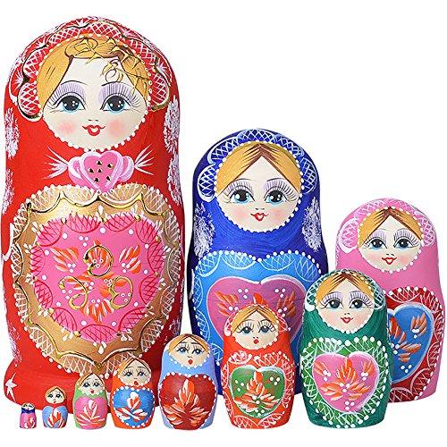 YAKELUS marca profesional de Matrioska, Muñecas Rusas Matrioska 10 piece Madera Matrioska de Rusia de 10 capas, hecha a mano y por el tilo, es un juguete y un regalo