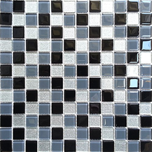 Glas Mosaik Fliesen Matte Schwarz, Grau und Silber mit Glitzer (MT0014)