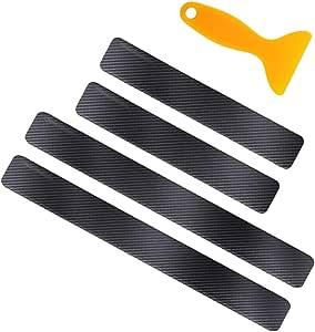 Gobesty Auto Einstiegsleisten Aufkleber 4 Stück Carbon Fiber Auto Einstiegsleisten Anti Scratch Schutzfolie Mit Schaber Schwarz Auto