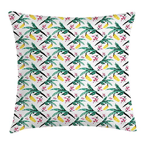 Pillow Cushion Cover, Tropical Pastel Blossom Sakura Branches Exotic Tone Artsy Petals, Decorative Square Accent Pillow Case, 18 X 18 Inches, Jade Green Pink Yellow Black ()
