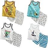 XM-Amigo 8 Paquetes de Chalecos sin Mangas para niños, Camisetas sin Mangas, Camisetas sin Mangas, Pantalones Cortos, Conjunt