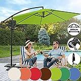 Sonnenschirm Ø 300cm in Farbwahl | mit Handkurbel,Wasserabweisender, inkl. Ständer | Ampelschirm, Gartenschirm, Kurbelschirm, Marktschirm, Sonnenschutz für Balkon, Tarasse