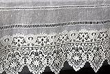 Gardine Landhaus Leinen Shabby Chic Vintage Baumwolle Spitze (90 x 40 cm)