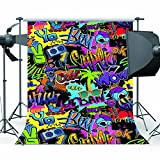 Mehofoto Hip Hop Backdrop 5x7ft 80s and 90s Party Theme Background Graffiti Photography Backdrops for Party