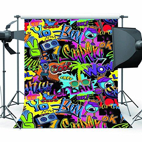 Mehofoto Hip Hop Hintergrund 5 x 7 ft 80er und 90er Jahre Party Thema Hintergrund Graffiti Fotografie Kulissen für Party (Hintergrund 5x7 Zusammenklappbar)