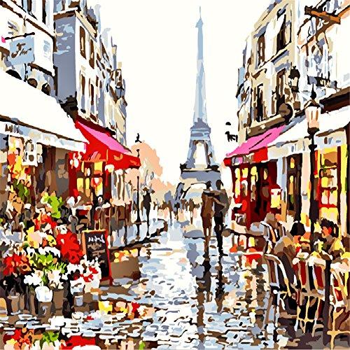 komking DIY Ölgemälde Malen nach Zahlen Kits für Erwachsene Anfänger, schöne Landschaft Malerei auf Leinwand 40,6x 50,8cm Paris Street (Malerei-kit Für Anfänger)