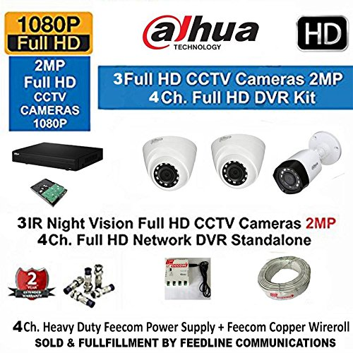 Dahua 4 Channel Hd- Dvr With 1080P Realtime Preview + 2- Dahua Hd Ir 2Mp Dome Camera & 1 –BULLET 2-MP+ 3+1 Cctv Wire ROLL + 1-TB Hard Disk COMPLETE KIT  available at amazon for Rs.14350