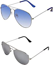 SHEOMY COMBO OF STYLISH SILVER BLUE AVIATOR GOGGLES AND SILVER MERCURY AVIATOR SUNGLASSES WITH 2 BOX Best Online Gifts