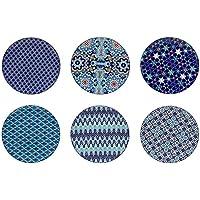 Ard'time EC-6AZASPM Lot 6 Assiettes, Céramique, Bleu/Blanc, 21,5cm