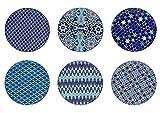 ard' Time ec-6azaspm 6Platos Llanos pequeño Modelo Design azulejo/Estilo étnico, Oriental, Azul, méditéranée, Mundo, asiático, japonés, cerámica, Azul y Blanco, 26cm