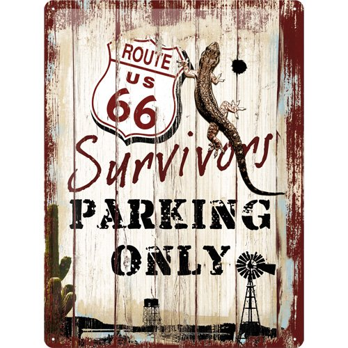 Nostalgic-Art 23148 US Highways Route 66 Survivors Parking Only, Blechschild, 30 x 40 cm