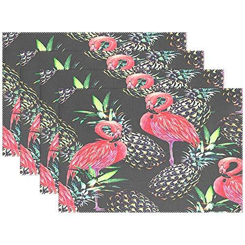 Tischset \'Pink Flamingos Pineapple\', Tischset \'Tropical Exotic Bird Polyester\' für Küche, Esszimmer, 6er-Set, 45 x 30 cm