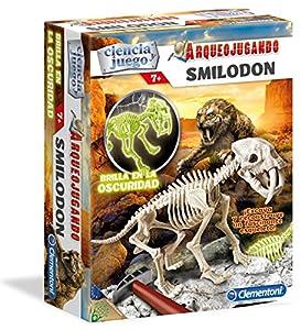 Clementoni - Arqueojugando Smilodon Fluorescente, Juego Educativo (550340)