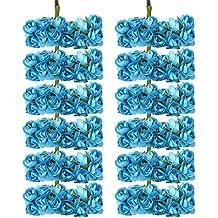 144pcs Ramo Rosa Artificial Flor Papel Decoración para Hogar Boda (azul)