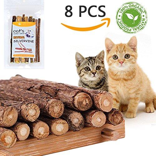 TanJean 8pcs Katzenminze Sticks Matatabi-Kausticks I 100% Geld Zurück Garantie, 100% natürliches Katzen-Zahnkauen für Zahn-Reinigung, Innenkatzen-Spielzeug für Gesunde Zähne (Lecken Nase)