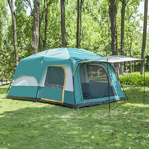 large 8-12 family tent camping outdoor hiking tunnel travel shelter waterproof with 3 rooms