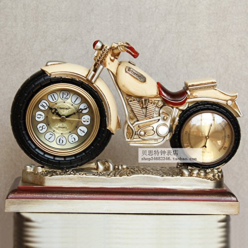 FQQRYY Retro Tischuhr kreative Uhr Continental Motorrad 30 * 21cm, A