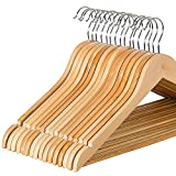 #6: Mayatra's Solid Wood Suit Hangers with Non Slip Bar and Chrome Hooks, Natural Finish Wooden Hangers Pack of 20