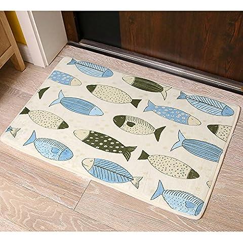 FQG*Korallenfische cartoon gatti Mimi stuoie cucina coreana giapponese Fußmatte dormitorio, bagno ha una rutschfeste piedi ,400mm di acqua x.? molte specie di pesci