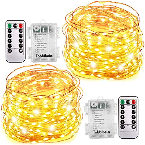 Tobbiheim 2 Stück Batterie Lichterkette Außen 60 LEDs 8 Meter IP68 Wasserdicht 8 Modi mit Fernbedienung und Timer DIY Dekoration Kupferdraht für Weihnachten, Garten, Hochzeit - Warmweiß