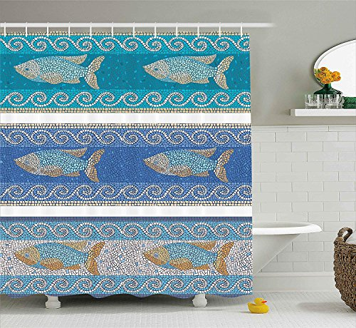 AdaCrazy antike byzantinische Keramik inspiriert Marine Fractal Fisch Muster Artwork Mosaik Dekor Duschvorhang Stoff Badezimmer Dekor Set mit Haken Schiefer blau -