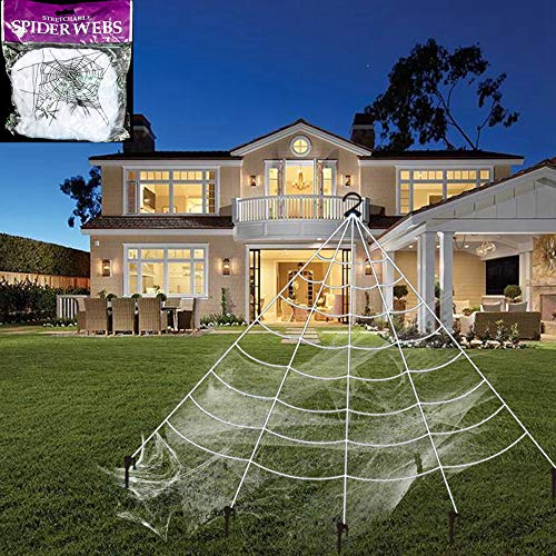 ennetz-Set mit 5 Erdspießen, Fächerform, dehnbar, mit 1 Haken, Halloween-Dekoration, für den Außenbereich, Weiß 16.4 x 15.7 ft weiß ()
