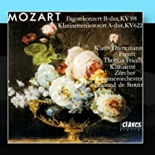 Wolfgang Amadeus Mozart: Bassoon Concerto In B-Flat Major, K 191 / Clarinet Concerto In A Major, K 622 by Thomas Friedli, Zurich Chamber Orchestra & Edmond De Stoutz Klaus Thunemann
