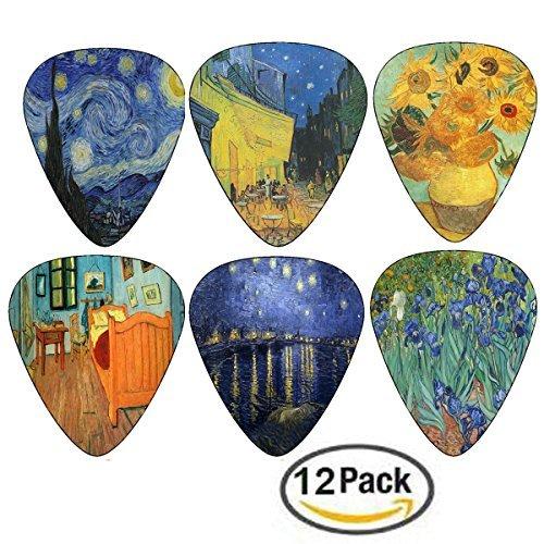 Vincent Van Gogh - Gitarren - Auswahl - Celluloid Medium 12 Pack - Starry Night Sunflowers Cafe von Creanoso - Best Stocking Stuffer Geschenke für Guitarist - Zeitlich begrenztes Angebot