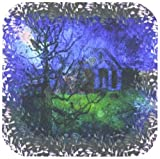 3dRose cst_21469_1 The Other Side of Midnight Night Dream Dreamscape Dreaming C G Jung Psychology Raven Moon Soft Coasters, Set of 4