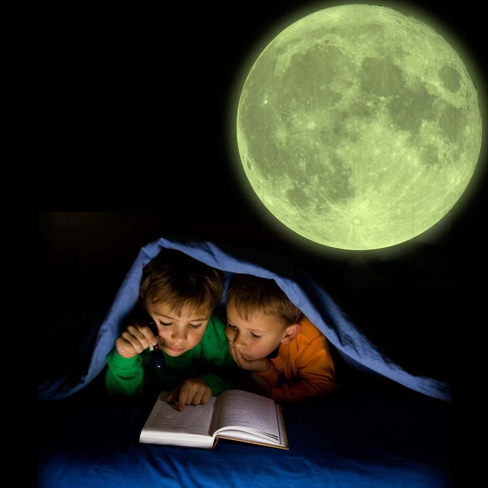 supertogether high detail glow in the dark moon for children s supertogether high detail glow in the dark moon for children s bedroom wall 28cm diameter fully repositionable kids wall sticker solar astronomy vinyl