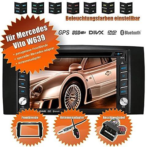 2DIN Autoradio CREATONE V-336DG für Mercedes Vito W639 (04/2006-05/2014 mit Audisystem 5 und 20 Mopf) mit GPS Navigation (Europa), Bluetooth, Touchscreen, DVD-Player und USB/SD-Funktion