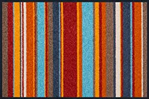 Wash dry 056287 tapis stripes burnt orange nylon for Tapis cuisine wash and dry