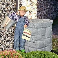 SONDERPREIS! Regentonne Regenfass Regenspeicher Regenwassertonne Märchenbrunnen 330l / 400l mit Wasserhahn und stabilem Deckel (granit-grau 330l)
