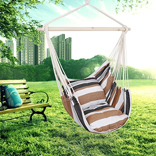 Holifine Hängesessel Garten Hängestuhl mit 2 Kopfkissen + Querstrebe Hängesitz Belastbarkeit bis 120kg, Braun
