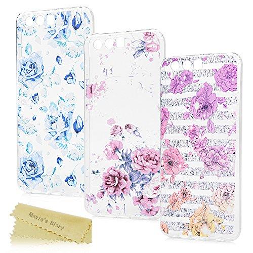 Mavis's Diary Huawei Honor 9 Hülle 3* Case Malen Transparent Tasche Backcover TPU Soft Skin Silikon Schale Durchsichtige Schutzhülle Kratzfest Stoßdämpfend Bumper Handyhülle (SET5)